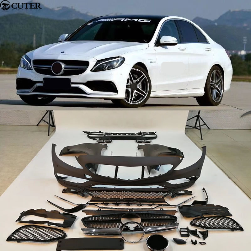 W205 C300 C63 Car body kit PP Unpainted front bumper rear bumper fender front grill for Mercedes Benz W205 C63 AMG 14-16 image