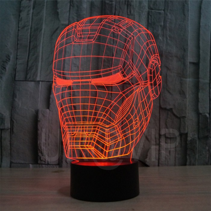 JC-2822 3D illusion iron man mask shape LED table lamp as gift free shipping  (7)