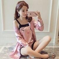 Bejirog 2018 Satijn vrouwen pyjama set premium nachtkleding zijde slaap kleding sexy nachtkleding zomer vrouwelijke homewear meisje nachtjaponnen