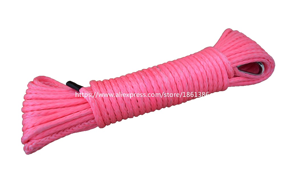 Free Shipping Pink 4mm*15m ATV Winch Line,Plasma Rope UTV Winch Accessori,Synthetic Winch Rope for Offroad Parts