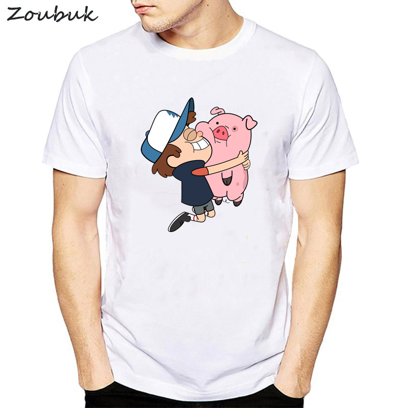 Gravity Falls   t     shirt   men harajuku tshirt funny animal pig   t  -  shirt   male summer tops tee   shirt   homme New Year's Gifts Presents