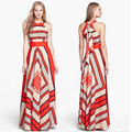 Europe United 2016 New Summer Sexy Halter Slim Big Yards Red Sexy Sleeveless A-line Dress Slim Chiffon Long Dress A0837