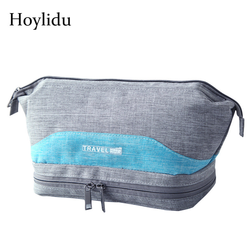 Waterproof Travel Cosmetic Bags For Women Men Blue Makeup Organizer Package Case Dry And Wet Separation Oxford Bath Toiletry Bag