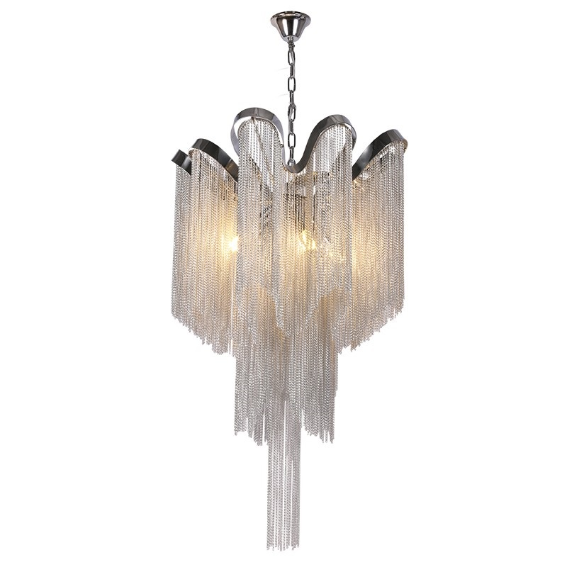 Us 144 48 44 Off Nordic Tel Chain Pendant Light For Home Luces Led Decoracion Silver Fringed Hanging Lamp Fixtures In