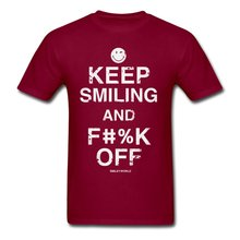Smiley World Keep Smiling F#%k Off Men's T-Shirt Brand Cotton Men Clothing Male Slim Fit T Shirt Tops Summer Cool Funny T-Shirt