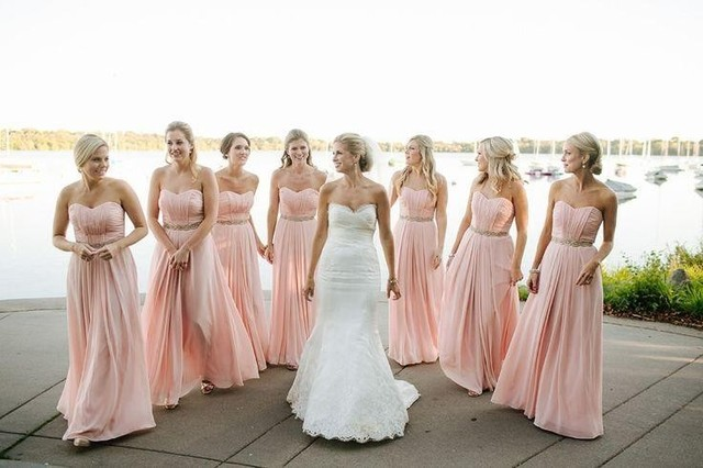 1dd092f34f Long Pink Beach Bridesmaid Dresses Vestidos Floor Length Backless Chiffon  Maid of Honour Dresses 2016 Plus Size Bridesmaid Gowns