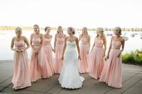 Long Pink Beach Bridesmaid Dresses Vestidos Floor Length Backless Chiffon Maid of Honour Dresses 2016 Plus Size Bridesmaid Gowns