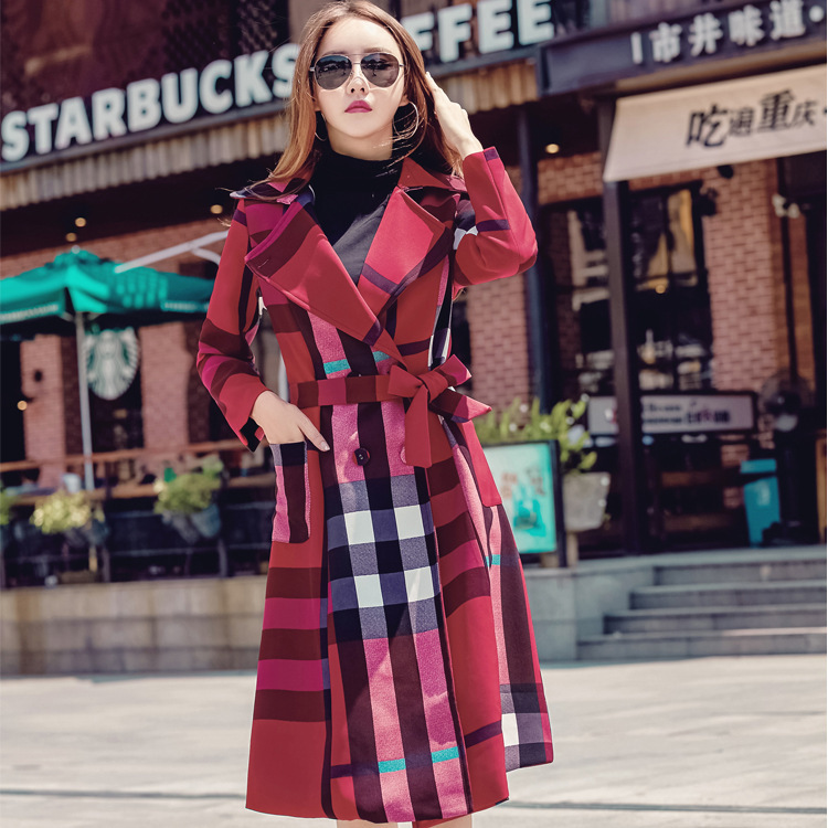 autumn and winter new style female lapel medium length retro plaid coat windbreaker   Trench