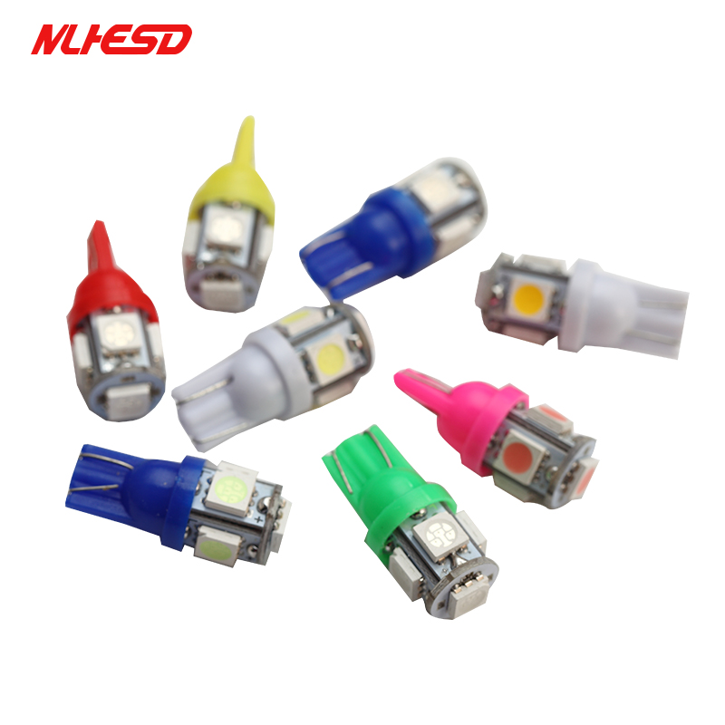 <font><b>100x</b></font> Auto <font><b>T10</b></font> 5SMD 5050 Automotive <font><b>LED</b></font> Light W5W 192 168 194 5050 SMD White Bulb Xenon <font><b>LED</b></font> Bulb Light Bulb white red blue DC12V image