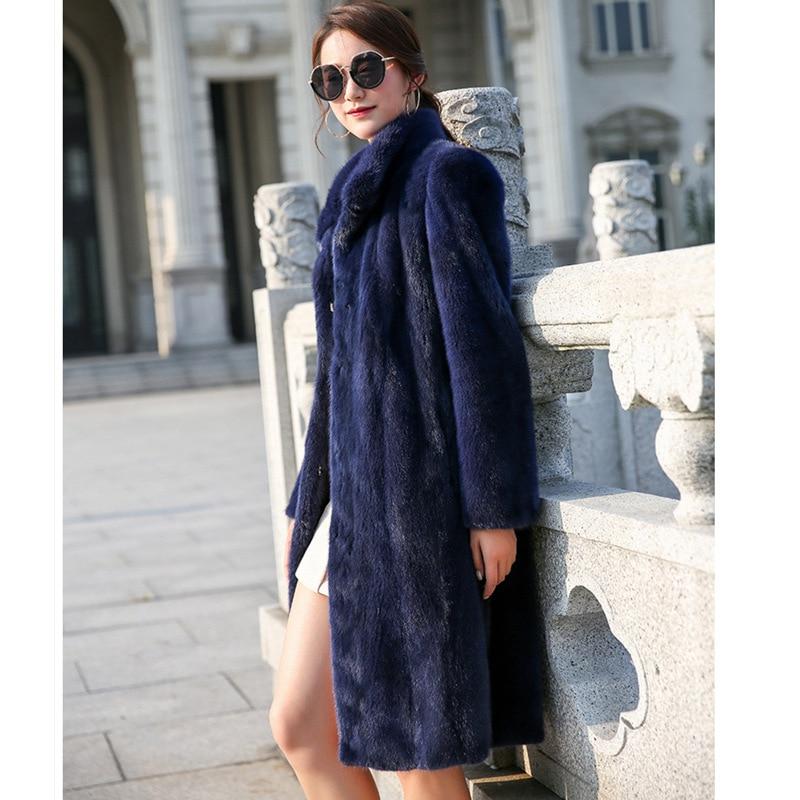 6xl De Femmes Longues Dames S Trench Vison Cothes Nouvelle Automne À coat Et D'hiver Manteau Manches Royal Mode Bleu Faux Fourrure Imitation dnfqn0
