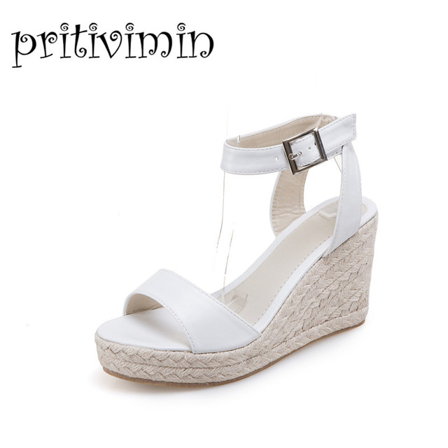 2d322f722489 2017 Fashion women platform wedges casual sandals girls white black ankle  strap summer shoes ladies ultra high heels sandals B3