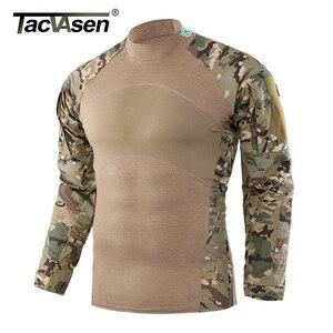 Image 2 - Tacvasen tático t shirts camuflagem airsoft combate do exército t camisas dos homens de manga longa assalto militar camisa masculina caça roupas