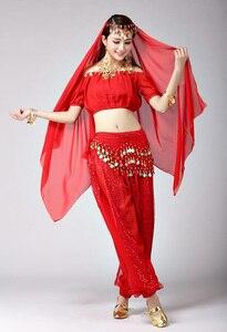 Image 3 - Damskie dziewczyny Halloween na imprezę Cosplay taniec brzucha Aladdin księżniczka Jasmine kostium dla dorosłych moda kostiumy dla kobiet 6 kolorów