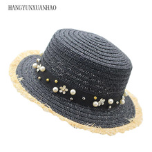 lovely Flat Top Straw Hat Summer Spring Womens Panama Cap leisure Pearl Beach Sun Hats Breathable Fashion Flower Girl
