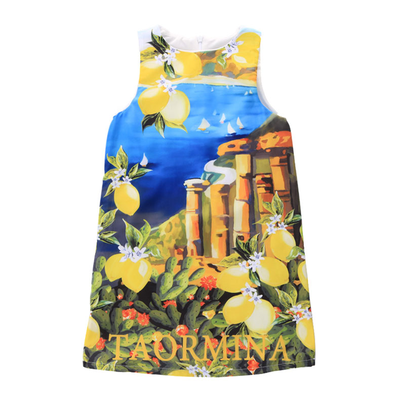 New Girls Dresses Summer 2016 European style Print Sleeveless Kids vest Dresses for Girls Clothes Party Princess Dress Children summer girls florwer dresses new design 2016 casual cotton sleeveless kids clothes lovely party vest dress infantil vestido hot