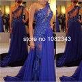 Sexo de luxo Sem Mangas Um ombro-Azul Escuro Longas Sereia Vestidos de Baile 2016 Chiffon Beading As Costas Abertas Até O Chão 3268