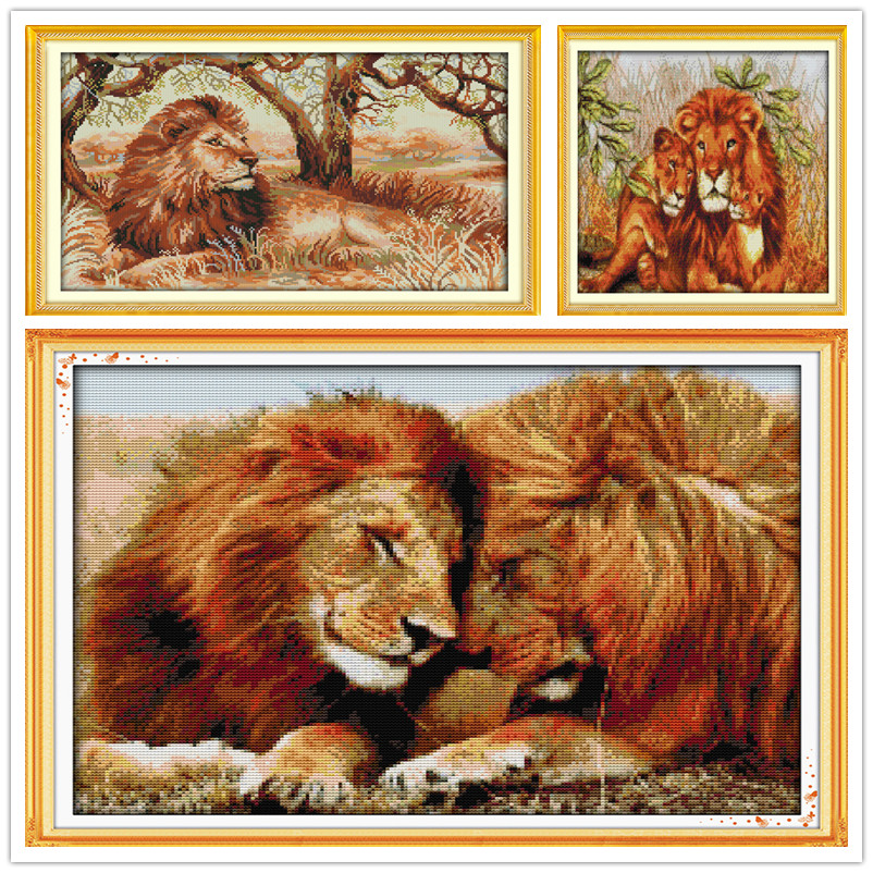 Fierce lion,Stamped Needlepoint Printed Pattern Kits for Home Decor Cross-Stitching Sewing Embroidery Cross Stitch Kits