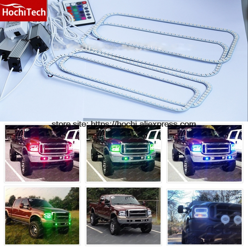 HochiTech RGB Multi-Color LED Angel Eyes Halo Rings super brightness car styling For 2005-2007 Ford F250 F-250 F350 F-350 5c3z9d930a for ford diesel powerstroke excursion f250 f350 f450 f550 250 350 450 550 f v8 6 0l fuel injector ficm wiring harness