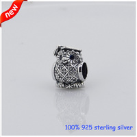 Fits Pandora Bracelets Owl Silver Beads with Swiss Blue Zircon New Original 100% 925 Sterling Silver Charm DIY Jewelry Wholesale