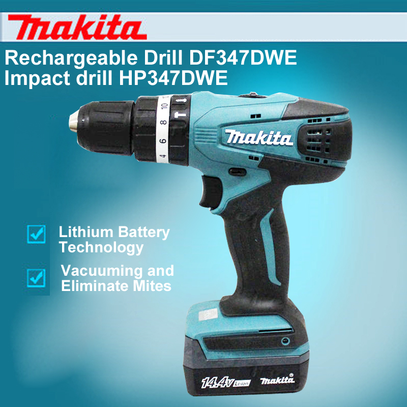 US $313 4 5% OFF|Japan Makita Rechargeable Drill DF347DWE Impact Drill  HP347DWE 14 4V Lithium Drill Electric Screwdriver-in Power Tool Accessories