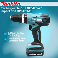 Japan Makita Rechargeable Drill DF347DWE Impact Drill HP347DWE 14.4V Lithium Drill Electric Screwdriver