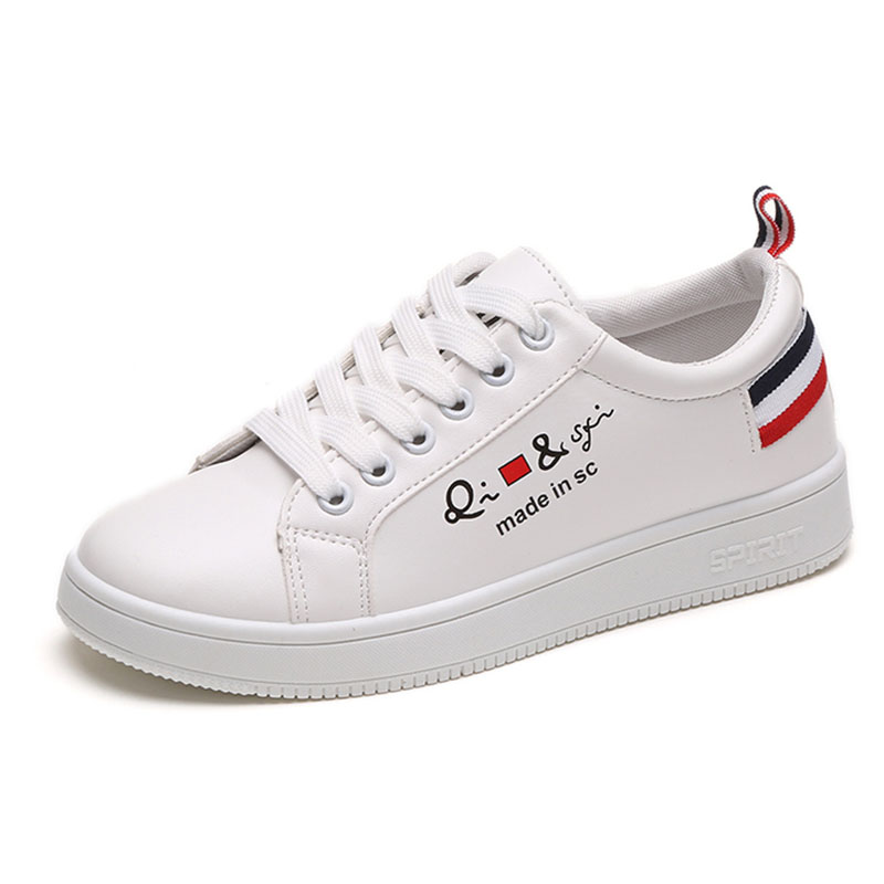 Casual Leather Shoes Woman 2018 Fashion White Sneakers Flat Platform Shoes Women Tenis Zapatos Mujer 1h56