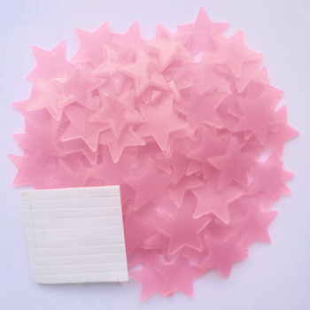 50pcs 3D Stars Luminous In The Dark Glow Stickers Fluorescent Pvc Wall Art Home Decals For Kids Room Ceiling Wall Decoration - Pink