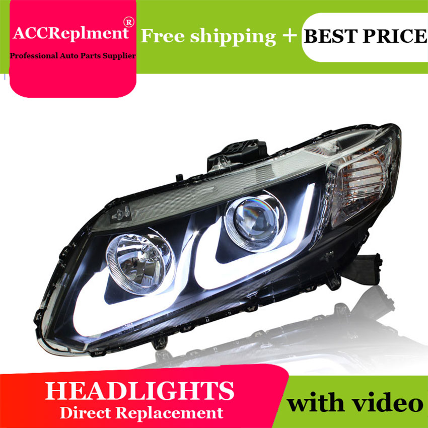 Style de voiture pour Honda civic phares U angel eyes 2012-2015 pour Honda civic lumière LED bar Q5 bi xénon lentille LED ampoule projecteur