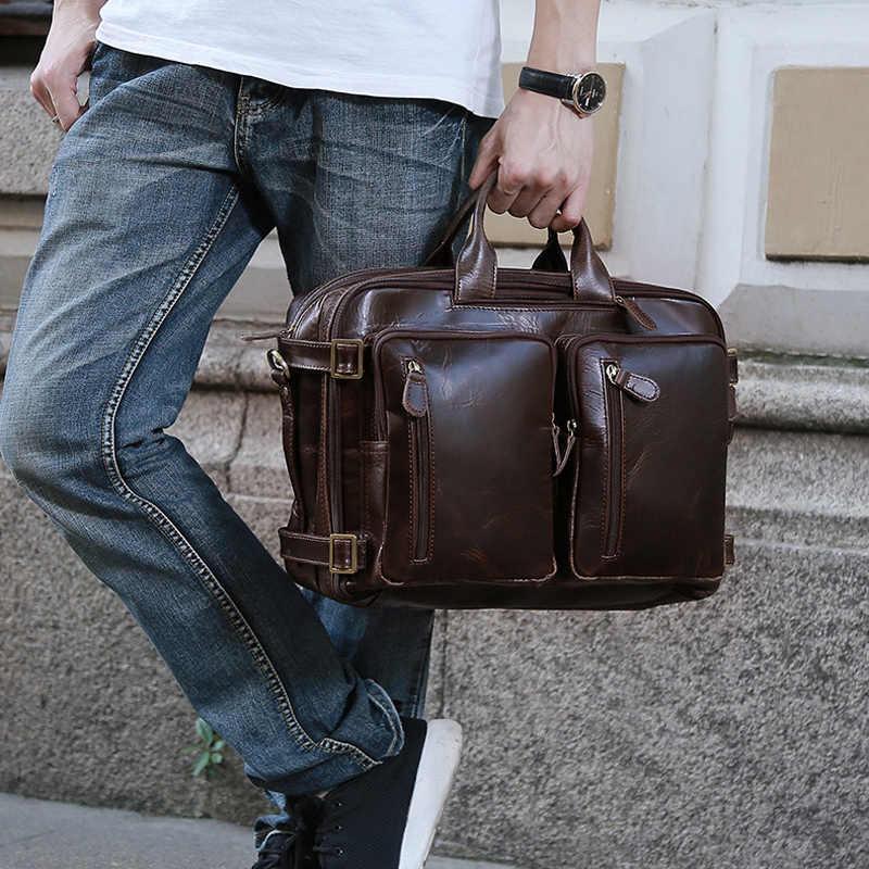 30dfe77d2ae0 TIANHOO 14 дюймов Сумка для ноутбука Ретро масло воск коровья кожа сумка  для путешествий на плечо