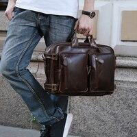 TIANHOO Многофункциональный 14 дюймов для ноутбука человек сумка Ретро масло воск из коровьей кожи сумка для путешествий плечо и handlebags мужские
