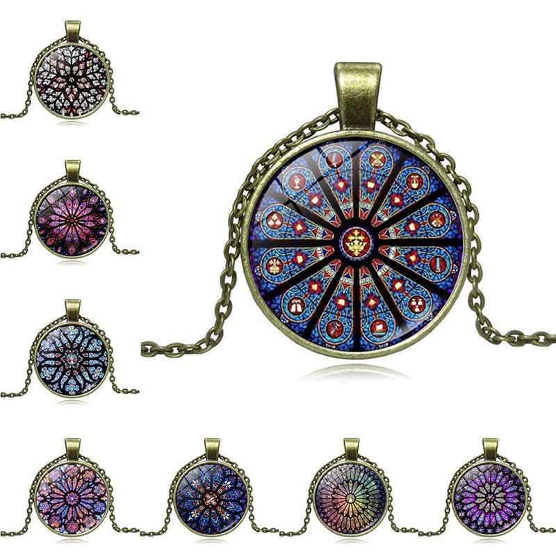 1Pcs  Rose Window Flower Time Glass Pendant Necklace Retro Sweater Chain Commemorative Gift