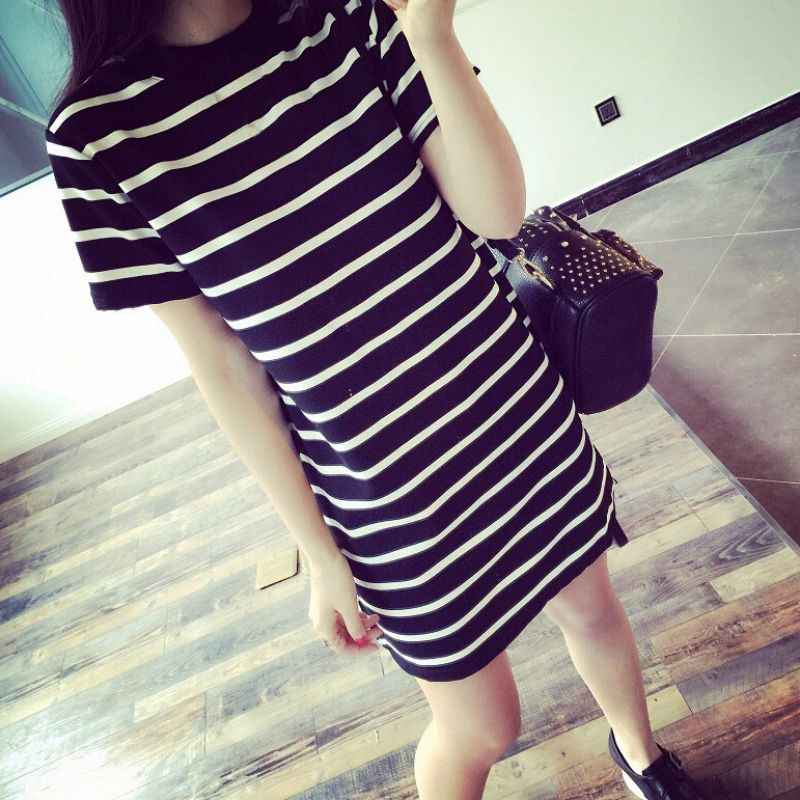 2018 Long Dresses Tee Shirt Party Dresses Sexy Wild Striped Camisas Femininas Korean Ropa Tumblr Vetement Women Dress