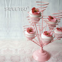 Pink Cupcake holder muffin stand for wedding party bouquet shape white/pink cake display tools table decoration dessert