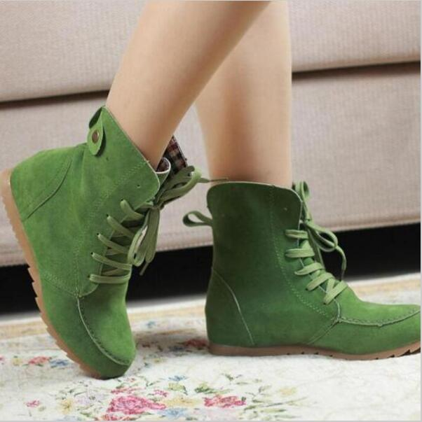Hot Ladies Boots Round Toe Flat Shoes Martin boots Woman Boots Solid Lace Up Womens Casual Shoes Comfortable Autumn Shoes k577