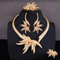 missvikki Refined Gorgeous Luxury 4PCS Earrings Necklace Bangle Open Ring Jewelry Set Women Bridal Wedding Engagement Jewelry