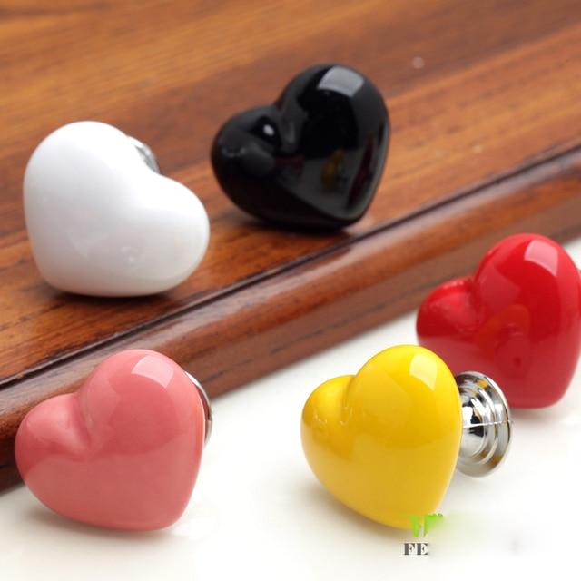 2Pc White Black Red Love Heart Ceramic Knob Single Hole Pull Handles ...