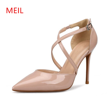 Size 33-42 6/8/10CM Sexy Thin High Heels Pumps Buckle Strap Office Wedding Shoes White Woman Brand Luxury Stiletto