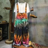 Personality Painted Printed Denim Rompers Womens Jumpsuit Loose Large Size Casual Jeans Overalls