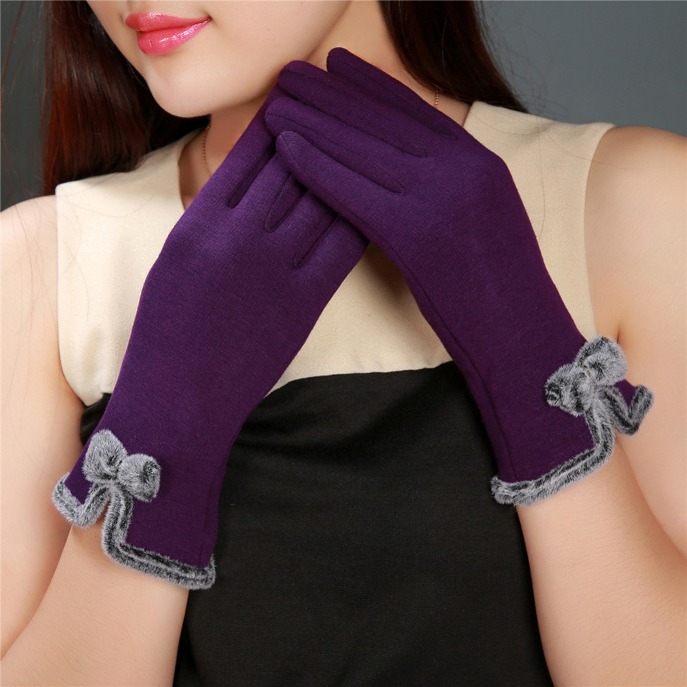 New Women Fashion Touch Screen Mittens Sheep Wool Gloves Bowknot Warm Thick Hand Fitness Wrist Long Female Winter Gloves