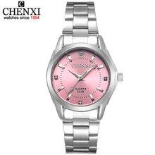 6 אופנה צבעים CHENXI CX021B מותג relogio יוקרה נשים מקרית שעונים עמיד למים שעון נשים אופנה שמלת ריינסטון שעון