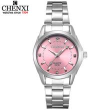6 modne kolory CHENXI CX021B marka relogio luksusowe damskie Casual zegarki wodoodporny zegarek kobiety moda sukienka zegarek ze strasów tanie tanio QUARTZ Bransoletka zapięcie CN (pochodzenie) STAINLESS STEEL 3Bar Moda casual 14mm ROUND Odporny na wstrząsy Odporne na wodę