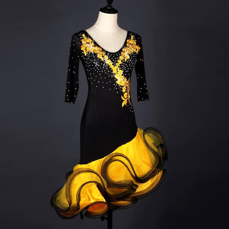 Sexy Latin Dance Dress For Women Rhinestone Salsa Samba Cha Cha Competition Dresses Yellow Ballroom Rumba Dancing Wear DC2496