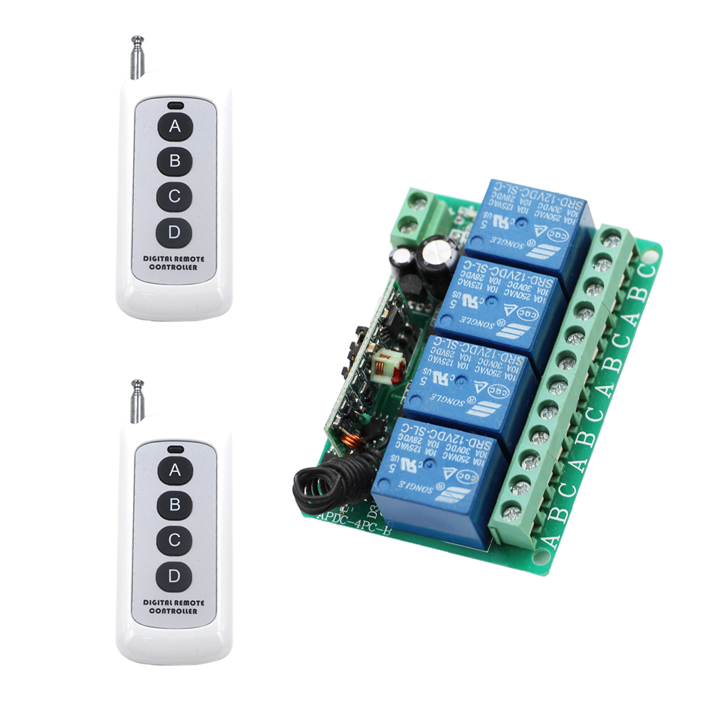 DC 12V 4 CH Relay 10A RF Wireless Remote Control Switch System Receiver Transmitter & Wireless for Lighting Smart Home dc 12v 2ch wireless remote control light switch system mini 2channel receiver with 2pcs 2 button transmitter for smart home
