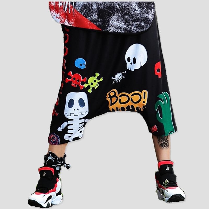 Just.be.never Summer Women Cotton Kawaii Loose Bizarre Skull Baggy Big Hip Hop Print Elastic Waist Black Large Size Harem Pants