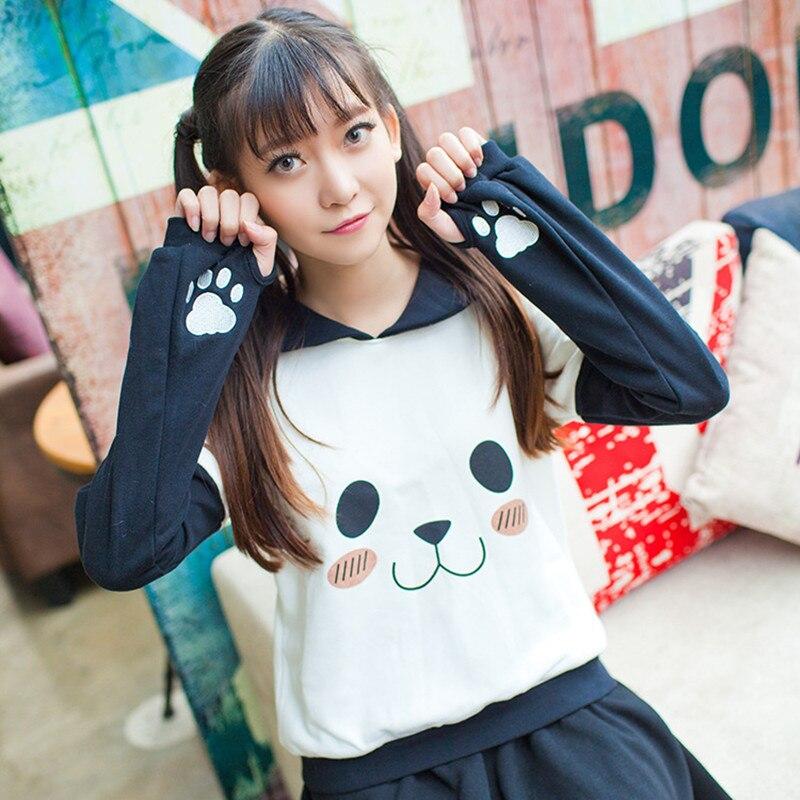 Sailor Collar Anime Pullover Women Kawaii Cute Sweatshirt Harajuku Panda Face Claw Embrodery Japan Girls Fashion Autumn Hoodies
