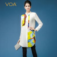 VOA 2018 осень плюс Размеры женские офисные белый корейский Шифоновая Блузка шелк жаккард длинная рубашка Повседневные принты работы Для женщ