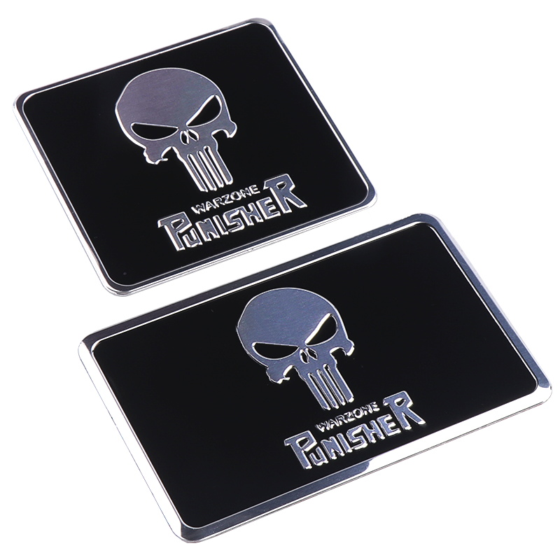 Image 4 - The Punisher Skull Warzone 3D Aluminum alloy Car Auto Badge Motorcycle Sticker Emblem Logo Automobile Tuning Car Styling-in Car Stickers from Automobiles & Motorcycles
