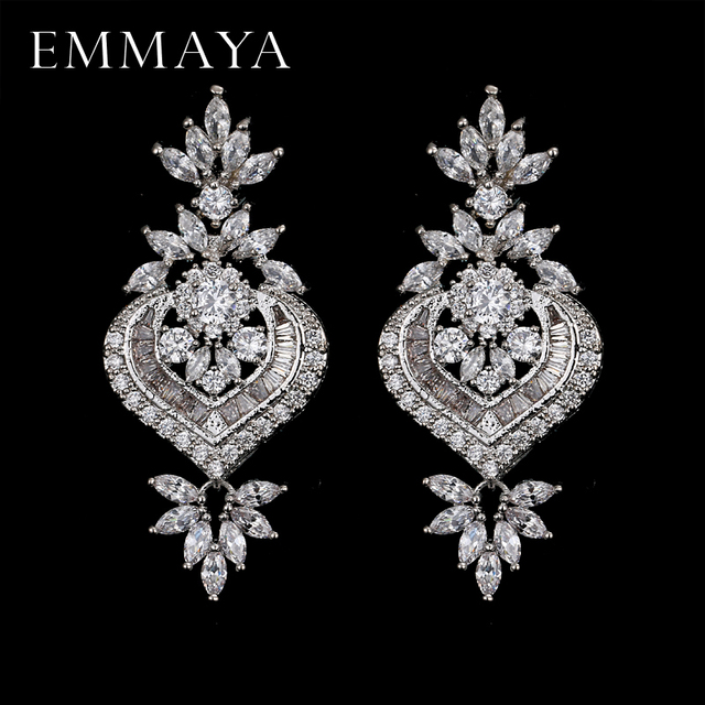 Emmaya New Arrival Luxury Long Flower Pendant Drop Earrings With Shining Cz Brincos Bridal Women
