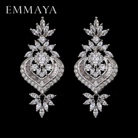 EMMAYA New Arrival Luxury Big Long Flower Pendant Drop Earrings With Shining CZ Brincos Bridal Women