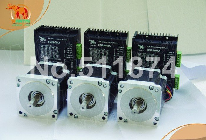 Powerful <font><b>Kit</b></font>! <font><b>CNC</b></font> Wantai <font><b>3</b></font> <font><b>Axis</b></font> Nema34 Stepper Motor 85BYGH450C-012 1600oz-in+Driver DQ860MA 7.8A 256micro Grind Engraver <font><b>Mill</b></font> image